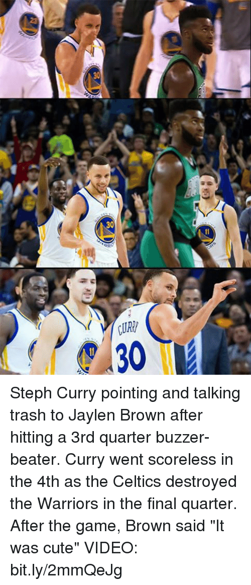 "Memes, 🤖, and Browning: ALOEYd  ee Steph Curry pointing and talking trash to Jaylen Brown after hitting a 3rd quarter buzzer-beater. Curry went scoreless in the 4th as the Celtics destroyed the Warriors in the final quarter.    After the game, Brown said ""It was cute""   VIDEO: bit.ly/2mmQeJg"