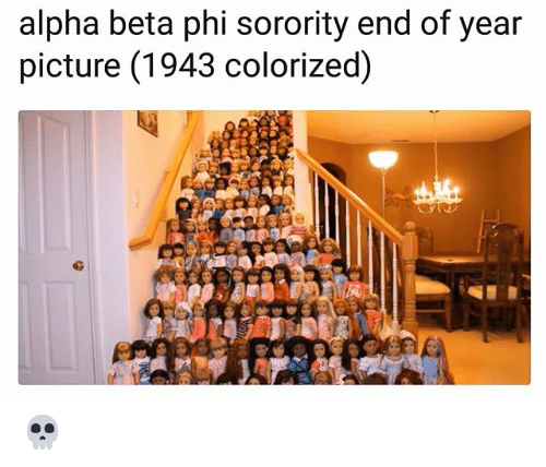 SIZZLE: alpha beta phi sorority end of year  picture (1943 colorized) ?