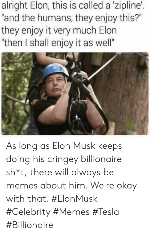 """Sh T: alright Elon, this is called a 'zipline'.  """"and the humans, they enjoy this?""""  they enjoy it very much Elon  """"then I shall enjoy it as well"""" As long as Elon Musk keeps doing his cringey billionaire sh*t, there will always be memes about him. We're okay with that. #ElonMusk #Celebrity #Memes #Tesla #Billionaire"""