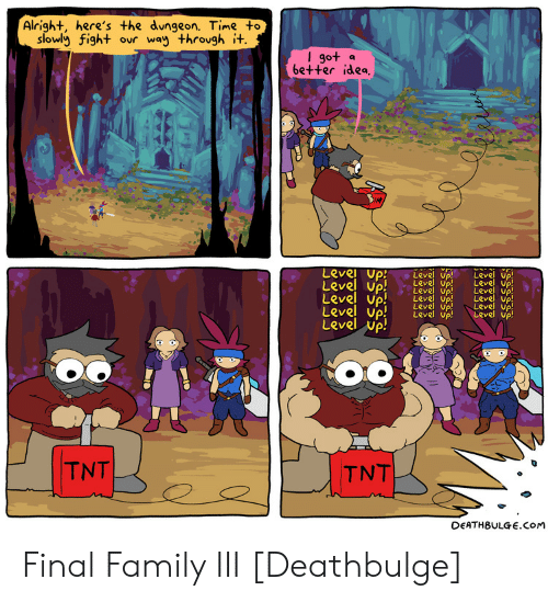 Deathbulge: Alright, here's the dungeon. Time to  slowly fight ovr way throvgh i+  go+ a  6e++er idea  Level up  Level up! e  Up! Leve uP  Level up  Level up! LevdLeve) Vp  eve up  Level up  LRve up  evel Up  Level up  TNT  DEATHBULGE.COM Final Family III [Deathbulge]