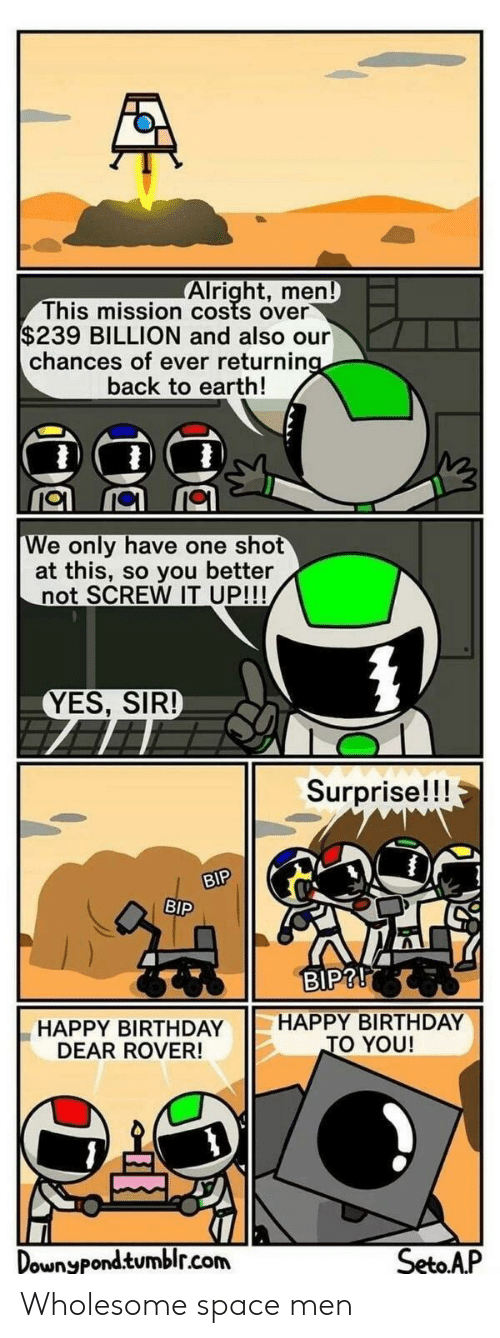 You Better Not: Alright, men  This mission costs over  $239 BILLION and also our  chances of ever returnin  back to earth!  e only have one shot  at this, so you better  not SCREW IT UP!!!  YES, SIR!  Surprise!!!  r.  BIP  BIP?!  HAPPY BIRTHDAY HAPPY BIRTHDAY  DEAR ROVER!  O YOU!  Dounypondtumblr.com  SetoAP Wholesome space men