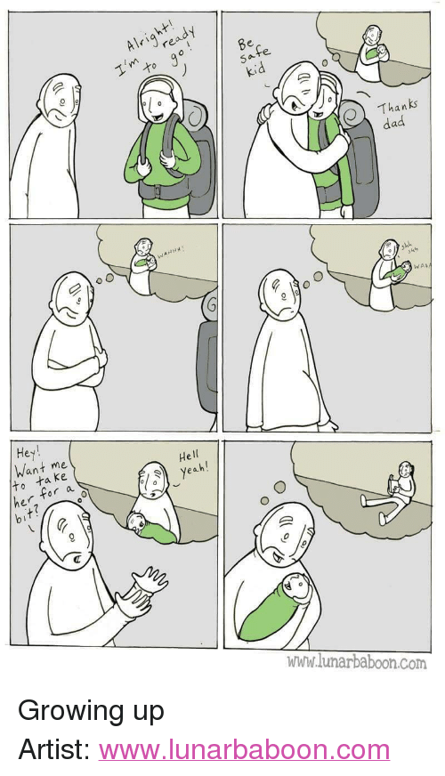 """Dad, Growing Up, and Http: Alrire  Thanks  dad  WAA  Hey  Want me  He  ta ke  r a  www.lunarbaboon.com <p>Growing up</p>  Artist: <a href=""""http://www.lunarbaboon.com"""">www.lunarbaboon.com</a>"""