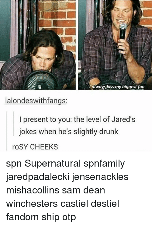 the levellers: always kiss my biggest fan  lalondeswithfangs:  I present to you: the level of Jared's  jokes when he's slightly drunk  roSY CHEEKS spn Supernatural spnfamily jaredpadalecki jensenackles mishacollins sam dean winchesters castiel destiel fandom ship otp