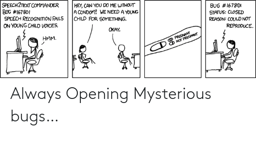 Opening: Always Opening Mysterious bugs…
