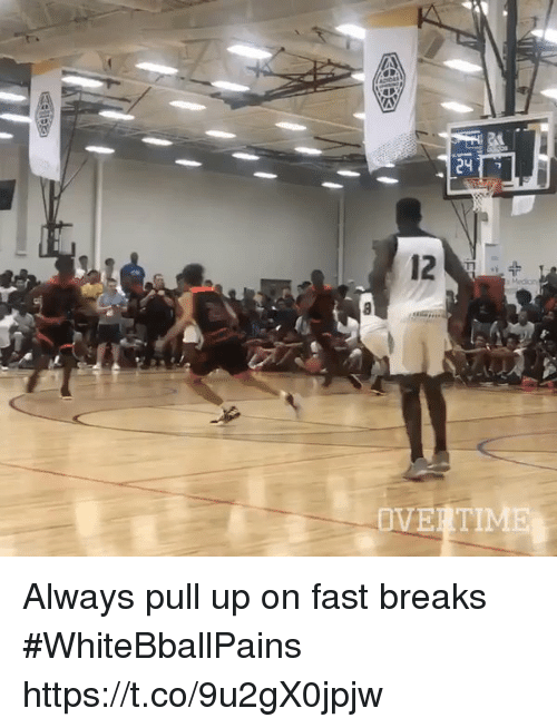 Basketball, White People, and Fast: Always pull up on fast breaks #WhiteBballPains https://t.co/9u2gX0jpjw