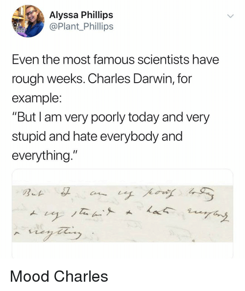 """Charles Darwin: Alyssa Phillips  @Plant Phillips  Even the most famous scientists have  rough weeks. Charles Darwin, for  example  """"But I am very poorly today and very  stupid and hate everybody and  everything."""" Mood Charles"""