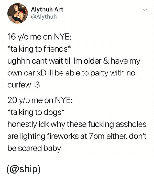 Dogs, Friends, and Fucking: Alythuh Art  @Alythuh  16 y/o me on NYE:  talking to friends*  ughhh cant wait till Im older &have my  own car XD ill be able to party with no  curfew:3  20 y/o me on NYE  talking to dogs*  honestly idk why these fucking assholes  are lighting fireworks at 7pm either. don't  be scared baby (@ship)