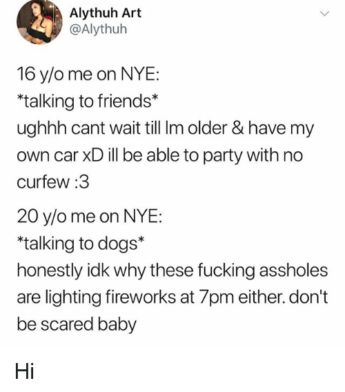 Dogs, Friends, and Fucking: Alythuh Art  @Alythuh  16 y/o me on NYE:  talking to friends*  ughhh cant wait till Im older & have my  own car XD ill be able to party with no  curfew :3  20 y/o me on NYE  talking to dogs*  honestly idk why these fucking assholes  are lighting fireworks at 7pm either. don't  be scared baby Hi