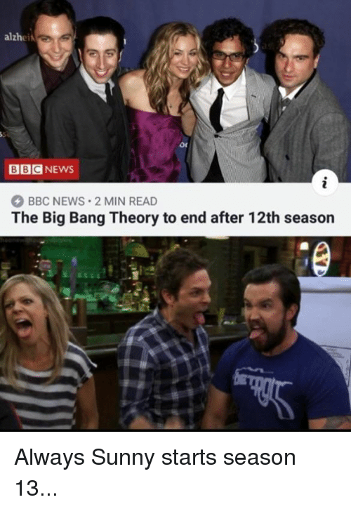 Memes, News, and Bbc News: alzhei  BBCNEWS  BBC NEWS 2 MIN READ  The Big Bang Theory to end after 12th season Always Sunny starts season 13...