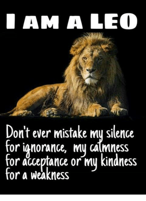 Kindness, Silence, and Leo: AM A LEO  Don't ever mistake mu silence  calmness  for acceptance or my kindness  for a weakness