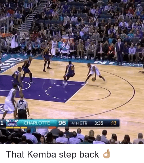 Sports, Charlotte, and Back: AM  G  な2-77  :.氵 imi , CHARLOTTE 96 4TH QTR 3:35 :13  HaRnrts  eat a  1 That Kemba step back 👌🏽