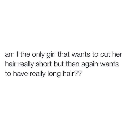 Memes, Girl, and Hair: am I the only girl that wants to cut her  hair really short but then again wants  to have really long hair??