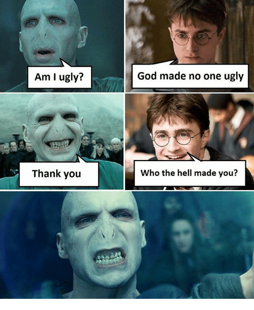 God, Memes, and Ugly: Am I ugly?  Thank you  God made no one ugly  Who the hell made you?