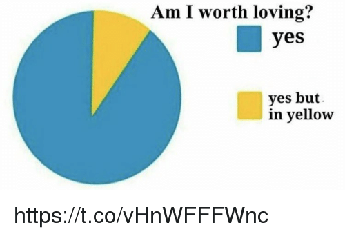 Memes, 🤖, and Yes: Am I worth loving?  yes  yes but  in yellow https://t.co/vHnWFFFWnc