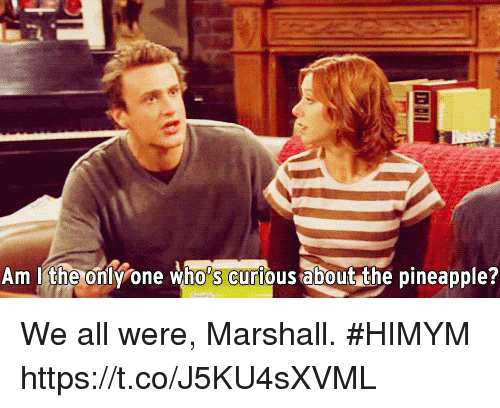 Memes, Pineapple, and 🤖: Am ithe onlone who's curfious about the pineapple? We all were, Marshall. #HIMYM https://t.co/J5KU4sXVML
