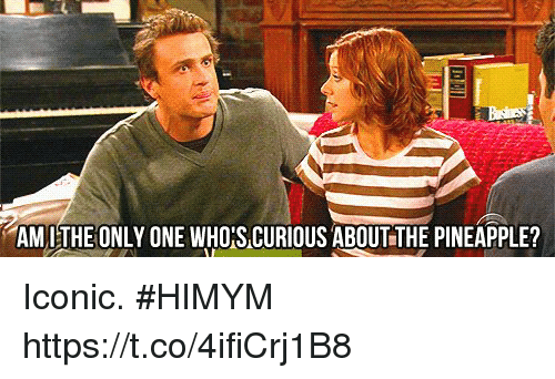 Memes, Pineapple, and Iconic: AM L THE ONLY ONE WHO'S CURIOUS ABOUT THE PINEAPPLE? Iconic. #HIMYM https://t.co/4ifiCrj1B8