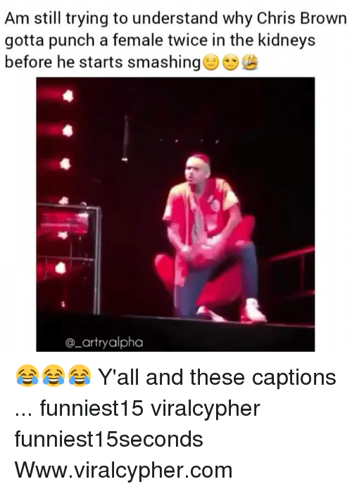 Chris Brown, Funny, and Com: Am still trying to understand why Chris Brown  gotta punch a female twice in the kidneys  before he starts smashing  @_artryalpha 😂😂😂 Y'all and these captions ... funniest15 viralcypher funniest15seconds Www.viralcypher.com