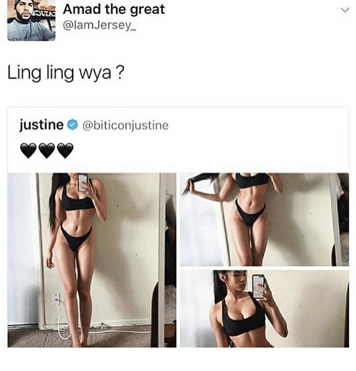 ling ling: Amad the great  alam Jersey.  Ling ling whya  Justine  @biticonjustine