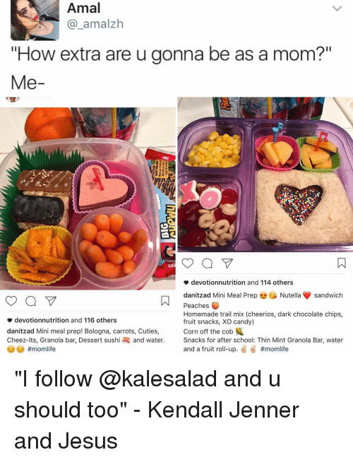 """Kendall Jenner, Memes, and Cheerios: Amal  amalzh  """"How extra are u gonna be as a mom?""""  Me  a V  CH  devotionnutrition and 114 others  danitzad Mini Meal Prep  Nutella sandwich  Peaches  Homemade trail mix (cheerios, dark chocolate chips,  devotionnutrition and 116 others  fruit snacks, XO candy)  Corn off the cob  danitzad Mini meal prep! Bologna, carrots, Cuties,  Cheez-lts, Granola bar, Dessert sushi and water  Snacks for after school: Thin Mint Granola Bar, water  and a fruit ro  up  """"I follow @kalesalad and u should too"""" - Kendall Jenner and Jesus"""