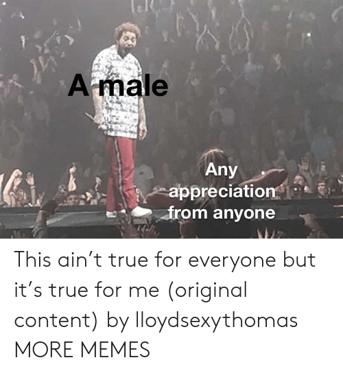 appreciation: Amale  Any  appreciation  from anyone This ain't true for everyone but it's true for me (original content) by lloydsexythomas MORE MEMES
