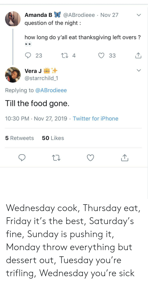 Amanda B: Amanda B @ABrodieee  Nov 27  question of the night  how long do y'all eat thanksgiving left overs?  2 4  23  33  Vera J  @starrchild 1  Replying to @ABrodieee  Till the food gone.  10:30 PM Nov 27, 2019 Twitter for iPhone  50 Likes  5 Retweets Wednesday cook, Thursday eat, Friday it's the best, Saturday's fine, Sunday is pushing it, Monday throw everything but dessert out, Tuesday you're trifling, Wednesday you're sick