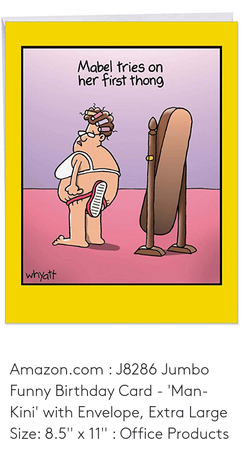 card: Amazon.com : J8286 Jumbo Funny Birthday Card - 'Man-Kini' with Envelope, Extra Large Size: 8.5'' x 11'' : Office Products
