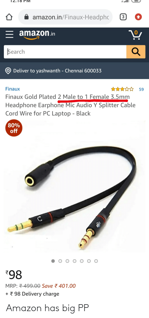 plated: amazon.in/Finaux-Headphc  3  = amazon.in  Search  Deliver to yashwanth - Chennai 600033  ☆☆ 59  Finaux  Finaux Gold Plated 2 Male to 1 Female 3.5mm  Headphone Earphone Mic Audio Y Splitter Cable  Cord Wire for PC Laptop - Black  80%  off  98  MRP: 499.00 Save 7 401.00  + 7 98 Delivery charge Amazon has big PP