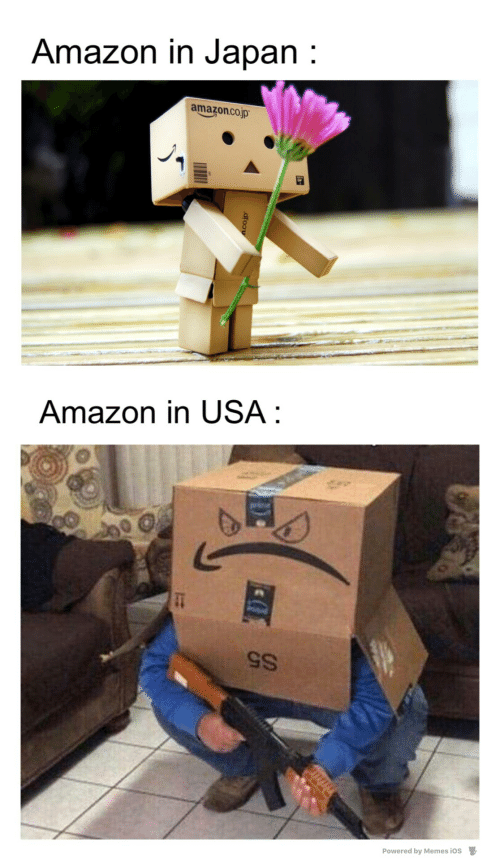 Japan: Amazon in Japan :  amazon.co.jp  Amazon in USA :  S5  Powered by Memes ios  D.  dfoou