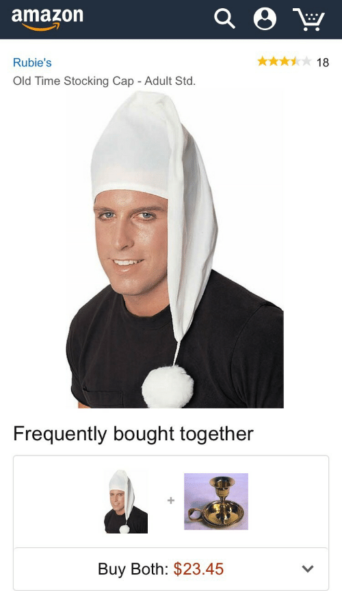Stocking: amazon  Rubie's  18  Old Time Stocking Cap - Adult Std.   Frequently bought together  Buy Both: $23.45