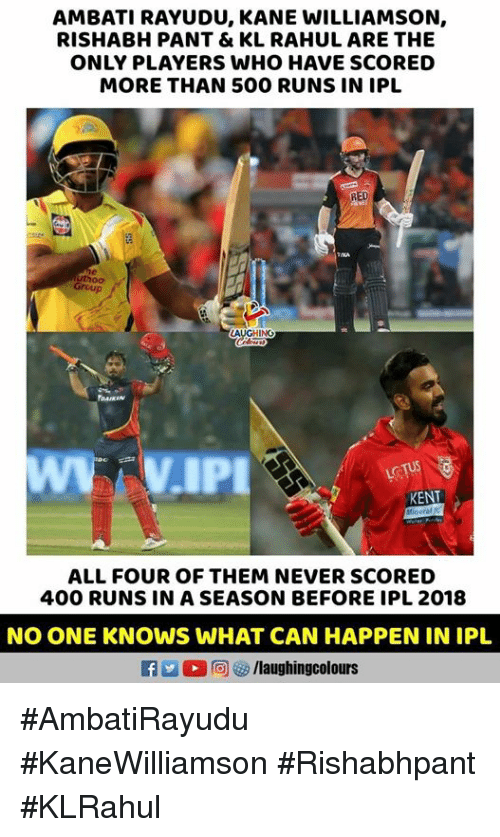 Never, Indianpeoplefacebook, and Ipl: AMBATI RAYUDU, KANE WILLIAMSON,  RISHABH PANT & KL RAHUL ARE THE  ONLY PLAYERS WHO HAVE SCORED  MORE THAN 500 RUNS IN IPL  RED  Group  AUGHING  DAIKIN  KENT  ALL FOUR OF THEM NEVER SCORED  400 RUNS IN A SEASON BEFORE IPL 2018  NO ONE KNOWS WHAT CAN HAPPEN IN IPL  f /laughingcolours #AmbatiRayudu #KaneWilliamson #Rishabhpant #KLRahul