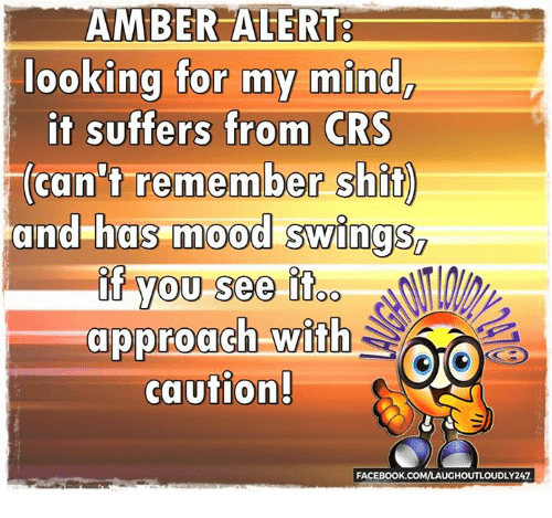 Memes, Amber Alert, and Suffering: AMBER ALERT  looking for my mind,  it suffers from CRS  (can't remember shit  and has mood swings  if you see OO  approach with  CO  caution!  FACEBOOK.COMVLAUGHOUTLOUDLY247