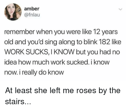 sing along: amber  @fnlau  remember when you were like 12 years  old and you'd sing along to blink 182 like  WORK SUCKS, I KNOW but you had no  idea how much work sucked, i know  now. i really do know At least she left me roses by the stairs...