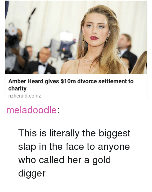 """gold digger: Amber Heard gives $10m divorce settlement to  charity  nzherald.co.nz <p><a class=""""tumblr_blog"""" href=""""http://meladoodle.tumblr.com/post/149162188167"""" target=""""_blank"""">meladoodle</a>:</p> <blockquote> <p>This is literally the biggest slap in the face to anyone who called her a gold digger</p> </blockquote>"""