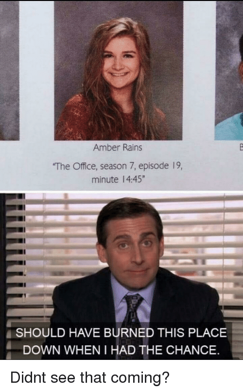 "Season 7: Amber Rains  The Office, season 7, episode 19,  minute 14:45""  SHOULD HAVE BURNED THIS PLACE  DOWN WHEN I HAD THE CHANCE Didnt see that coming?"