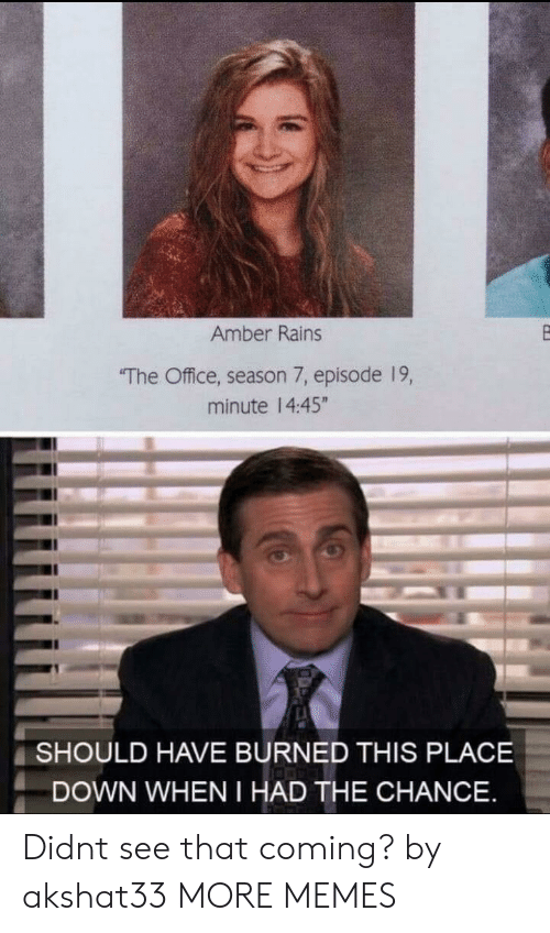 "Season 7: Amber Rains  The Office, season 7, episode 19,  minute 14:45""  SHOULD HAVE BURNED THIS PLACE  DOWN WHEN I HAD THE CHANCE Didnt see that coming? by akshat33 MORE MEMES"