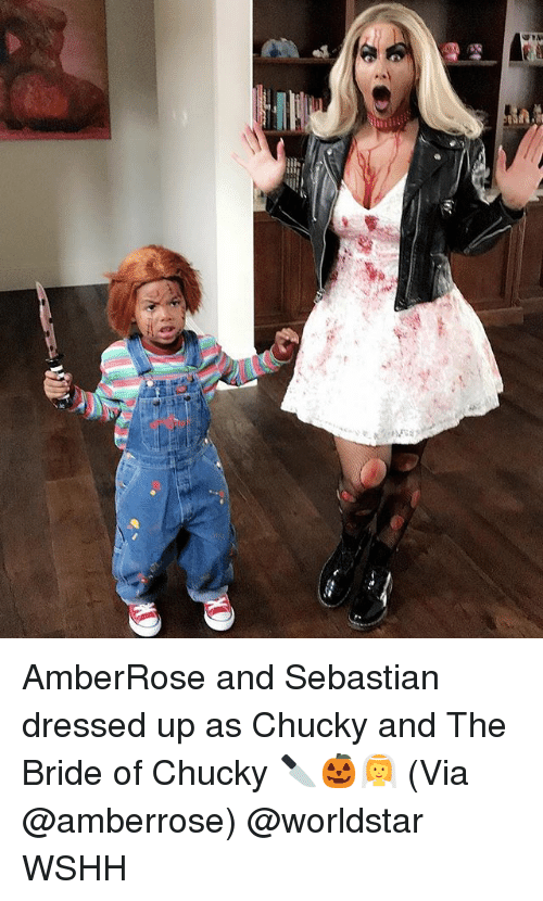 Chucky: AmberRose and Sebastian dressed up as Chucky and The Bride of Chucky 🔪🎃👰 (Via @amberrose) @worldstar WSHH