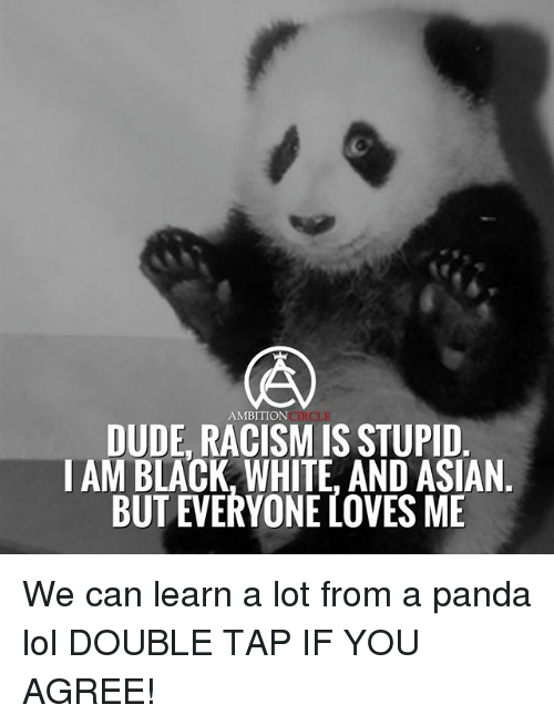 Asian, Dude, and Lol: AMBITION  DUDE, RACISM IS STUPID  I AM BLACK, WHITE, AND ASIAN  BUT EVERYONE LOVES ME We can learn a lot from a panda lol DOUBLE TAP IF YOU AGREE!