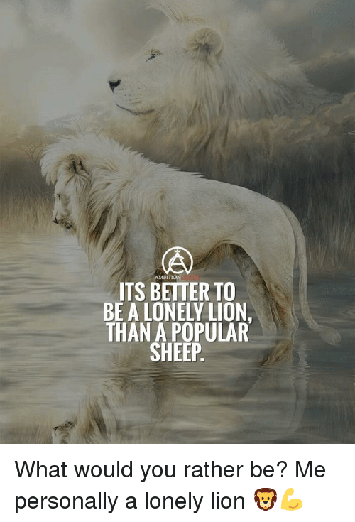Ambition: AMBITION  ITS BETTER TO  BE A LONELY LION.  THAN A POPULAR  SHEEP What would you rather be? Me personally a lonely lion 🦁💪