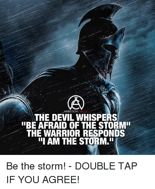 "Memes, Devil, and Warriors: AMBITION  THE DEVIL WHISPERS  IIBE AFRAID OF THE STORM""  THE WARRIOR RESPONDS  III AM THE STORM.ii Be the storm! - DOUBLE TAP IF YOU AGREE!"
