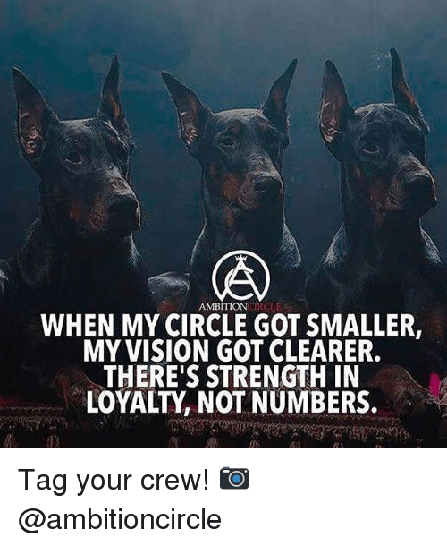 Memes, Vision, and 🤖: AMBITIONGIRGLE  WHEN MY CIRCLE GOT SMALLER  MY VISION GOT CLEARER.  THERE'S STRENGTH IN  LOYALTY, NOT NUMBERS. Tag your crew! 📷 @ambitioncircle