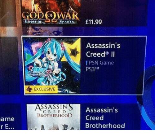 Video Games, Assassin's Creed, and Creed: ame  VV  £11.99  SPAKEA  Assassin's  Creed II  PSN Game  PS3 TM  d EXCLUSIVE  SSASSIN  Assassin's  BROTHERHOOD  Creed  A Brotherhood