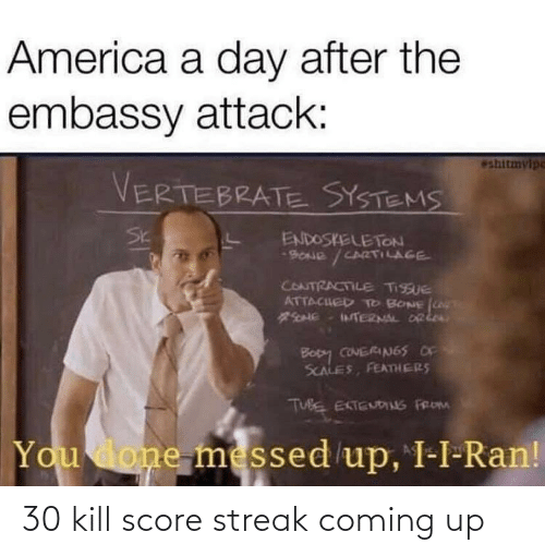You Done Messed Up: America a day after the  embassy attack:  eshitmylpe  VERTEBRATE SYSTEMS  Sk  ENDOSKELETON  9ONE / CARTILAGE  CONTRACTILE TISSUE  ATTACHED TTO BONE LT  TERNAL DRkea  Bopy CONERIN65 OF  SCALES, FEATmHERS  TUBE EKTENDINS FROM  You done messed up, I-I-Ran! 30 kill score streak coming up