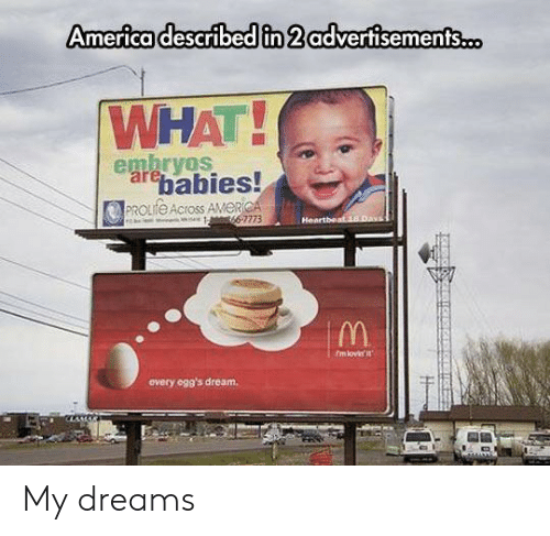 heartbeat: America described in 2 advertisements.o  WHAT!  embryos  arebabies!  PROLIFE Across AMERICA  66-7773  Heartbeat 18.Day  fmlovir it  every ogg's dream. My dreams