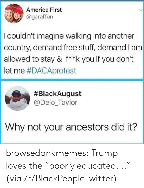 """Free Stuff: America First  @garaffon  I couldn't imagine walking into another  country, demand free stuff, demand I am  allowed to stay & f**k you if you don't  let me #DACAprotest  #BlackAugust  @Delo_Taylor  Why not your ancestors did it? browsedankmemes:  Trump loves the """"poorly educated…."""" (via /r/BlackPeopleTwitter)"""