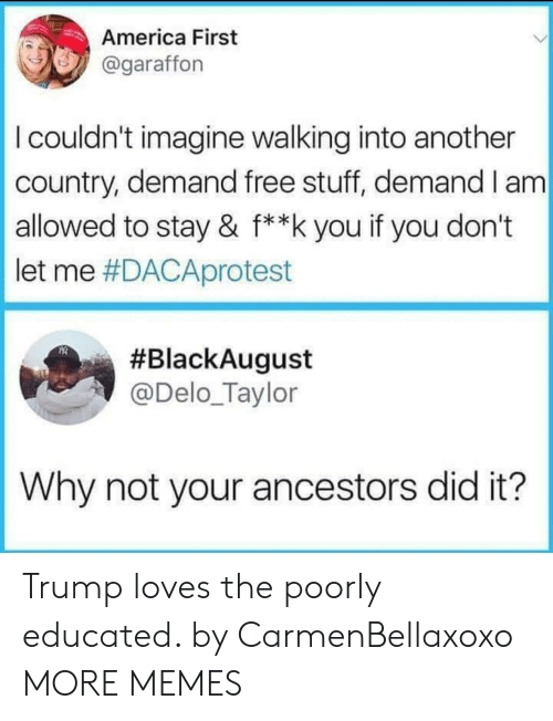 Free Stuff: America First  @garaffon  I couldn't imagine walking into another  country, demand free stuff, demand I am  allowed to stay & f**k you if you don't  let me #DACAprotest  #BlackAugust  @Delo_Taylor  Why not your ancestors did it? Trump loves the poorly educated. by CarmenBellaxoxo MORE MEMES