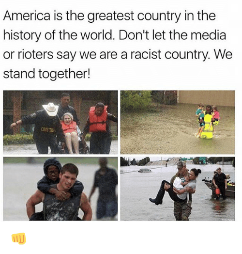 America, Memes, and History: America is the greatest country in the  history of the world. Don't let the media  or rioters say we are a racist country. We  stand together!  CONS 👊