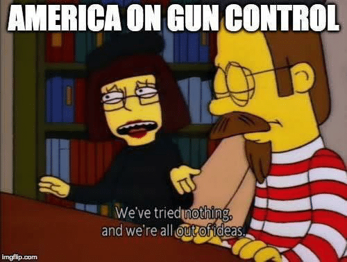 gun control: AMERICA ON GUN CONTROL  We've triedinothing  and we're all ut ofideas.  imgflip.com