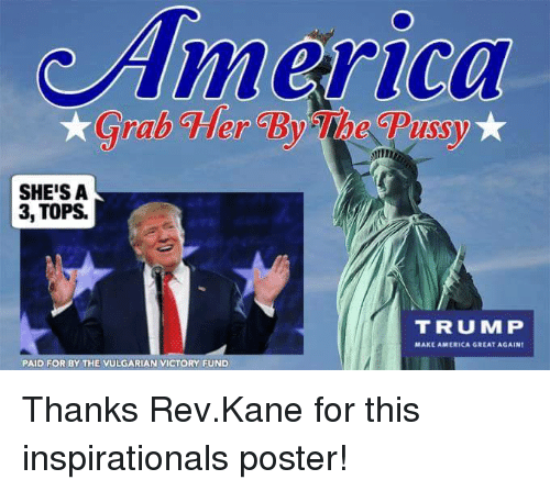 America, Memes, and Trump: America  ra  SHE'S A  3, TOPS.  TRUMP  MAKE AMERICA GREAT AGAIN  PAID FOR BY THE VULGARIAN VICTORY FUND Thanks Rev.Kane for this inspirationals poster!