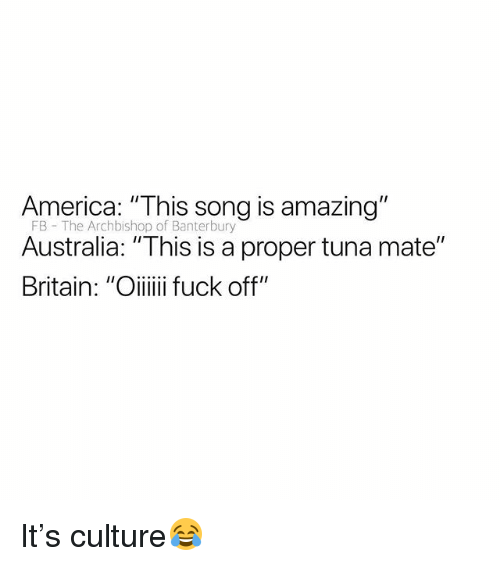 "America, Australia, and British: America: ""This song is amazing""  FB The Archbishop of Banterbury  Australia: ""This is a proper tuna mate"" It's culture😂"