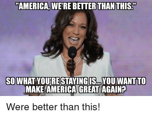 """make america great again: """"AMERICA, WE'RE BETTER THAN THIS.""""  SOWHAT YOUIRE STAYINGIS... YOU WANTTO  MAKE AMERICA GREAT AGAIN? Were better than this!"""